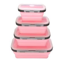 Faltbare Lunchbox aus stapelbarem Lebensmittelbehälter-Silikon