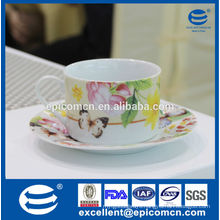 butterfly and flowers decoration Russian porcelain tea set collection, ceramic tea cup and saucer