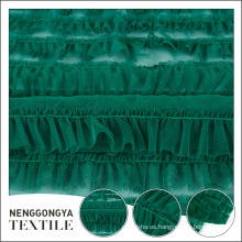 Tela elegante del cordón de la gasa del verde del poliéster del estilo popular para el vestido