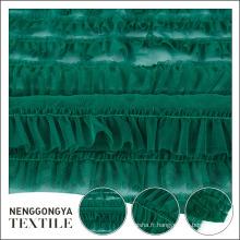 Tissu en dentelle en mousseline de polyester vert élégant populaire pour la robe