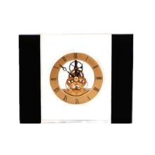 Relógio de mesa de acrílico quadrado com borda preta