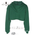 Kapuze Midriff-Baring Cotton Casual Short Sports Pullover