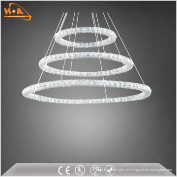 Innenkristall drei runde Ringe LED modernen Kronleuchter
