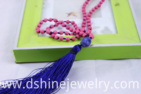 pink coral necklace, pendant tassel necklace