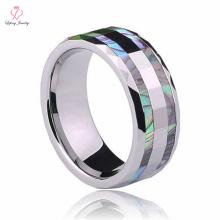 Nouvel anneau rotatif de GearTungsten, anneau de tungstène de Pearl Inlay de laser de mère