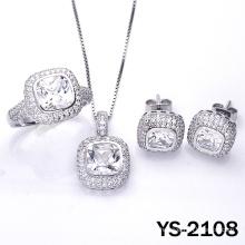 Joyas de Diamantes 925 Juego de Joyas de Plata Micro Pave Setting.