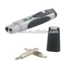 3 en 1 bolsillo multi herramienta de nivel, linterna y destornillador intercambiable