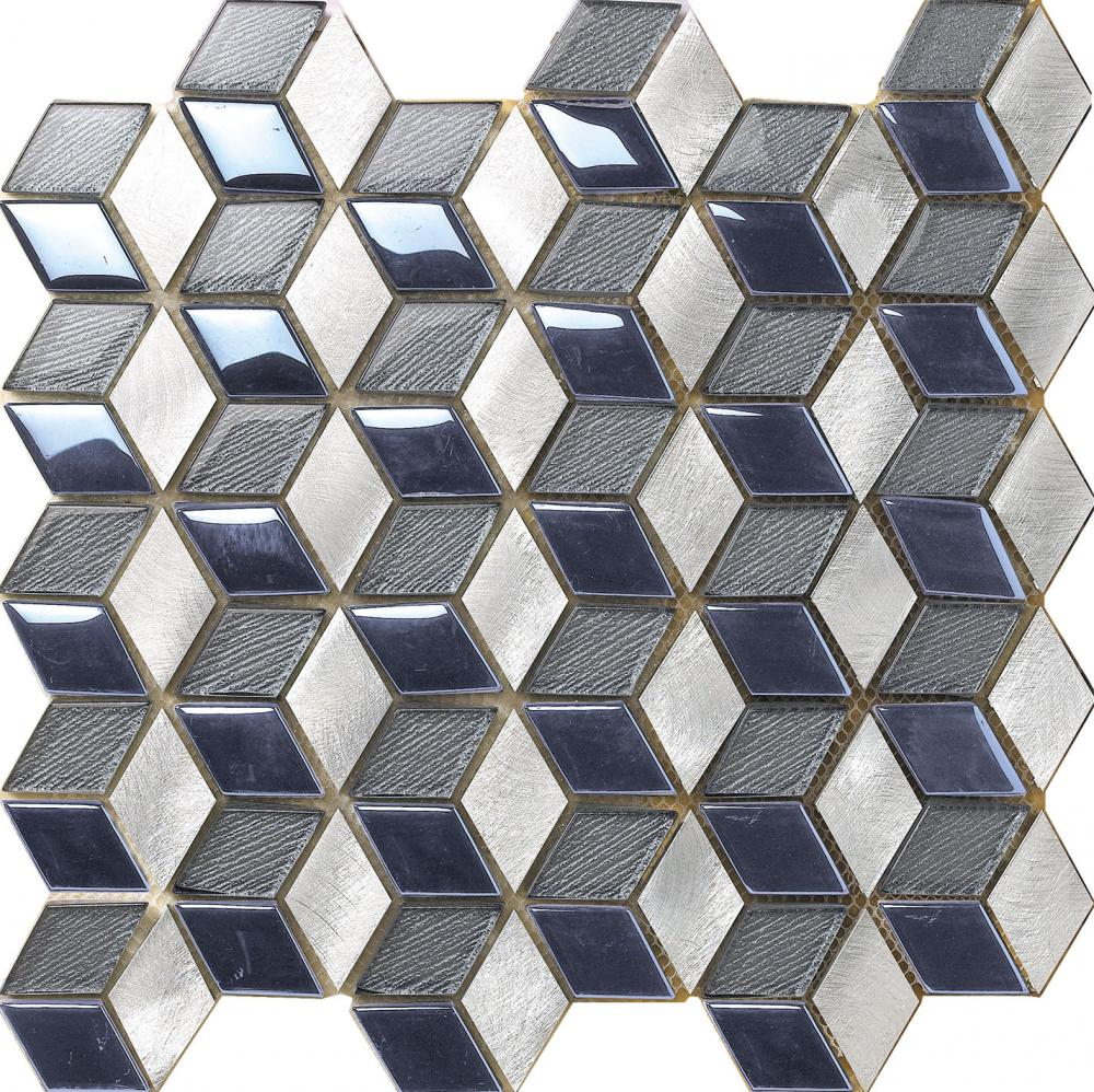 Blue Shiny Glass Aluminium Mixed Mosaic Tile