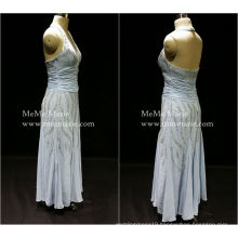 [In Stock] Halter Deep V Open Back Column Evening Dress Prom Gown with Silver Sequins BYE-14054