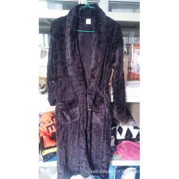 Pyjamas en molleton ultra doux brodé pour homme / peignoir