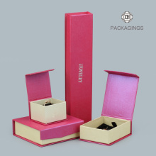 Luxuriöse rosa Flip-Top faltbare Schmuck Sets Box