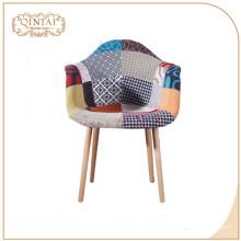 Silla de recepción de superficie de tela de patas de madera china