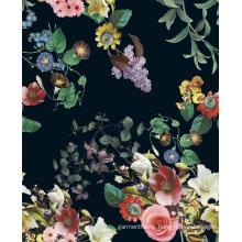 Flower Design Printed Polyester Woven Garment Fabric
