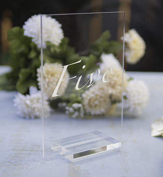 Clear Acrylic Sign 5x7 Table Number Signs