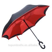 Parapluie renversé inversé de double couche de nouvelle invention de 2017 en gros avec la poignée de C