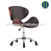 Novel design black leather wooden swivel office chair