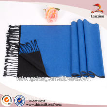 Brushed silk scarf in blue with fringes