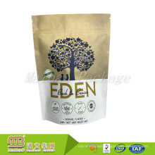 Excellent Quality Custom Printed Natural Kraft Stand Up Zip Pouch For Food Packaging