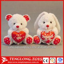 Relleno de conejo de peluche de corazón de felpa para regalos de San Valentín