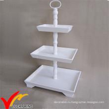 Прямоугольный белый Vintage 3 ярусов французский Страна Деревянные Свадебный торт стенд