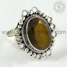 New arrivel tiger eye gemstone silver ring handmade 925 sterling silver jewelry wholesale price