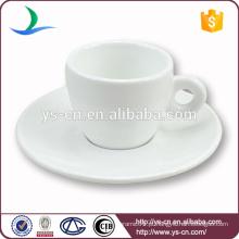 Copo de café cerâmico branco mais vendido com pires