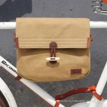 Tourbon старинные холст велосипед рама сумка с плечевым ремнем