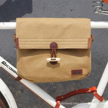 Tourbon vintage canvas bicycle frame carry bag with shoulder strap