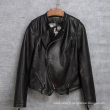 Vêtements de moto de mode Vêtements en cuir de mouton réel pour les femmes