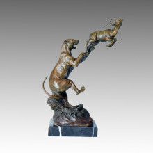 Aniaml Bronze Sculpture Leopard/Lion Hunt Deocration Brass Statue Tpal-102