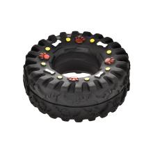 Eco-Friendly Interactive Pet Toy Black Tire Shape Squeak Sound Vinyl Dog Toy