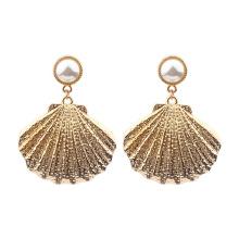 Attractive Elegant Alloy Pearl Shell Women Drop Earrings 14K Gold Plated