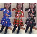 Alta qualidade vestido de traje colorido azul para crianças vestido de menina de Natal