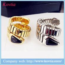 Black onyx snake head titanium steel spring ring 18k gold plated adjustable open ring