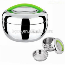 stainless steel lunch box round apple shape themro container