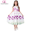 Grace Karin Kids Grass Pattern Sleeveless Round Neck Bow-Knot Decorated 12 Year Girl Without Dress Children Dress CL008996-1