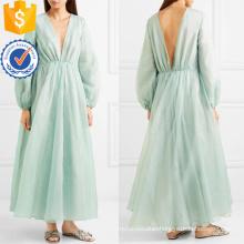 Graceful Green Long Sleeve V-Neck Maxi Summer Dress Manufacture Wholesale Fashion Women Apparel (TA0326D)