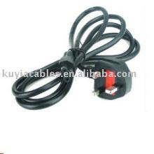 Universal UK 3-Prong portable uk câble d'alimentation avec fusible 6ft 1.8m