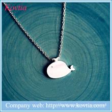 Cute baleia pingente colar esterlina sliver 925 meninas jóias e colar de animais