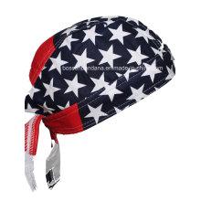 Custom Made Logo Impresso Algodão Promocionais Bandeira Americana Cap Crânio Biker Caps Headwrap