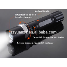 Three-speed police zoom rechargeable LED Flashlight