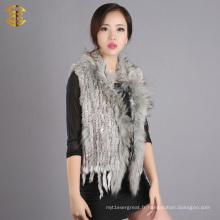 Veste en fourrure en lapin en tricot avec fourrure en raccole et garniture en fourrure en peau de fourrure rapide