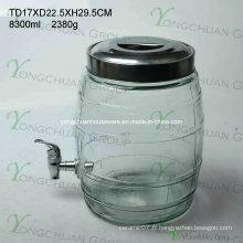 Distributeur de boissons en verre de 8,5 l avec support métallique