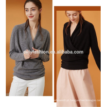 Novo design moda feminina casual pullover pure color cashmere kniting sweater