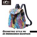 Geometric laser color focus PU leather backpack bag