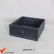 Антикварная деревянная французская коробка черного ящика с ящиком