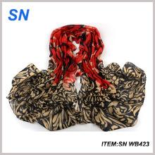 Moda voile material impresso cachecol de inverno
