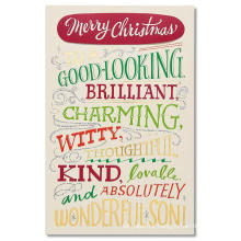 Greetings Gift Christmas Card for Son with Foil Gold Glitter Card