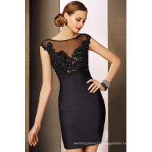 Heavy Beaded Hollow Back Ruched Short Black Mother Cocktail Dress