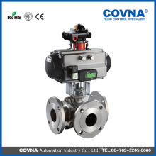 3 way Flange Sanitary Pneumatic Ball Valve